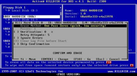 Как использовать приложение KillDisk для стирания данных жесткого диска?