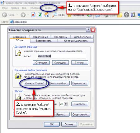 Как удалить «Cookies» в браузере Internet Explorer?