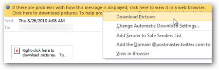 Как сделать, чтобы Outlook сразу показывал картинки в почте, присланной с проверенных ящиков?