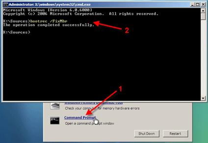 Как вручную восстановить загрузчик Windows 7?