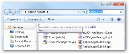 Как сохранить результаты поиска в Windows 7?