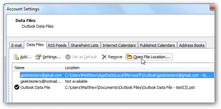 Где Outlook хранит PST файл и как его переместить на другой диск?