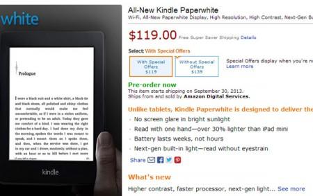 Интернет магазин Amazon обновил электронную книгу Kindle Paperwhite